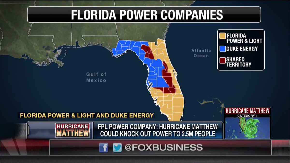 """Fox Business On Twitter: """"just In: As Many As 2.5M Residents Likely - Florida Power Companies Map"""