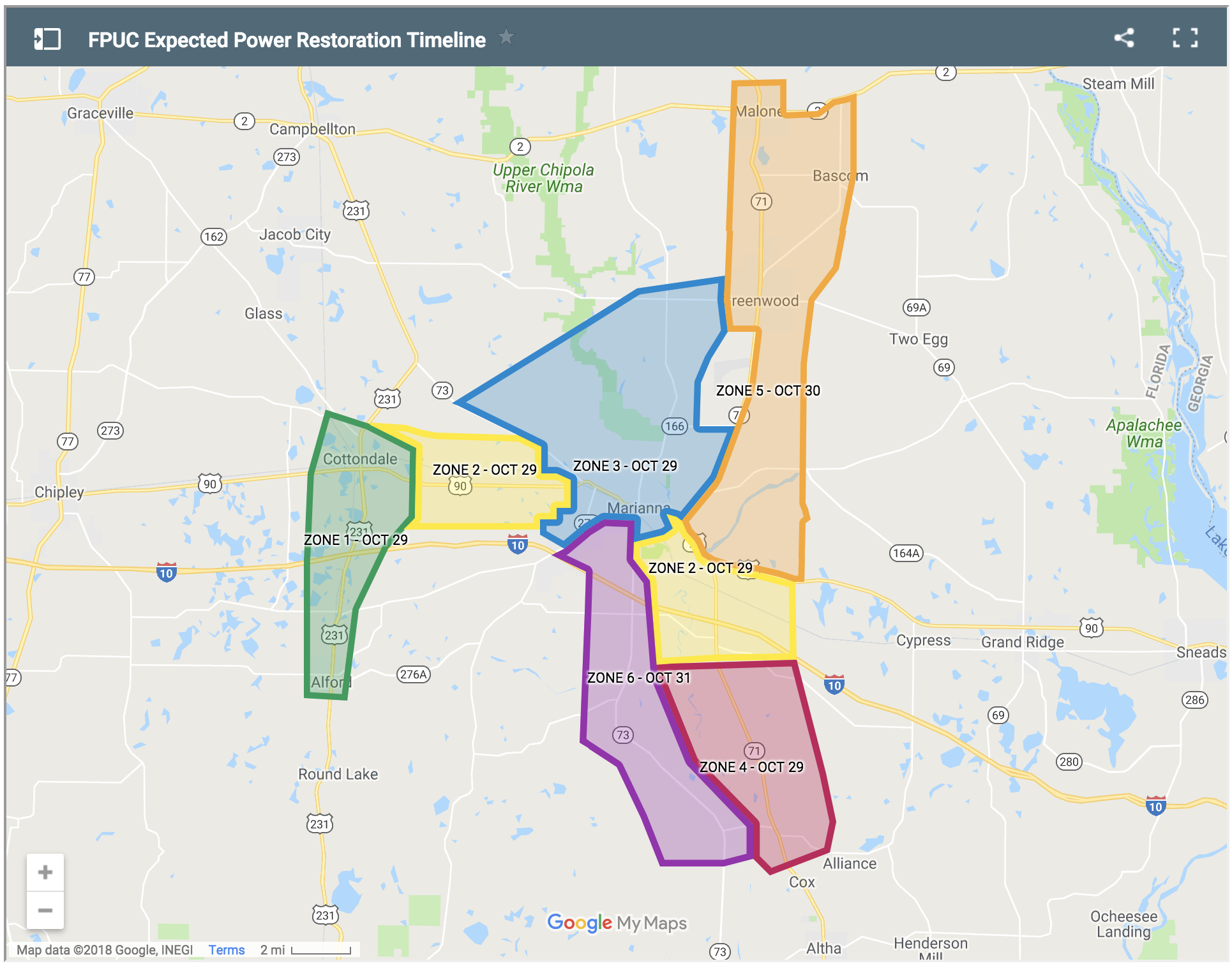 Fpu News | Hurricane Michael - Florida Public Utilities Power Outage Map