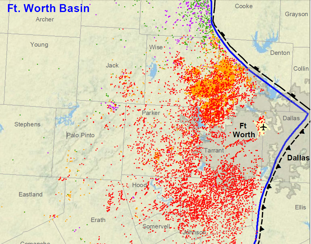 Fracking In The Barnett Shale Around Dallas-Fort Worth, A City Of 1 - Fracking In Texas Map