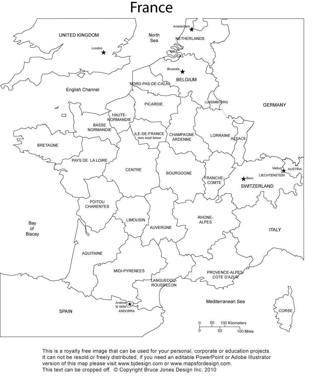 France Blank Printable Map With Provinces, Royalty Free, Clip Art - Free Printable Map Of Paris