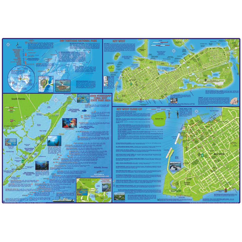 Franko Maps Florida Keys Dive Creature Adventure Guide 18 X 26 Inch - Florida Keys Dive Map