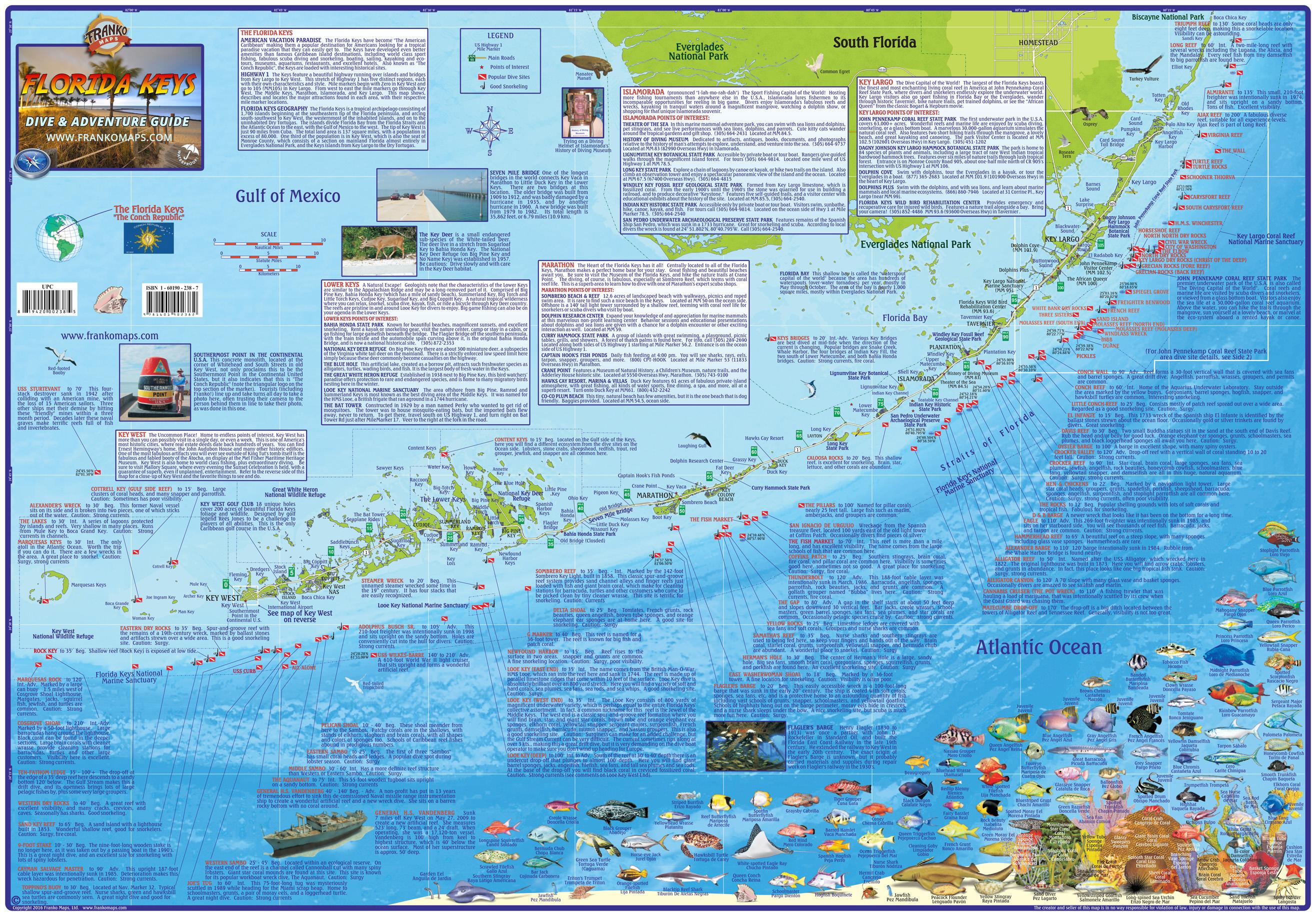 Franko Maps Florida Keys Guide & Dive Map - Florida Keys Dive Map