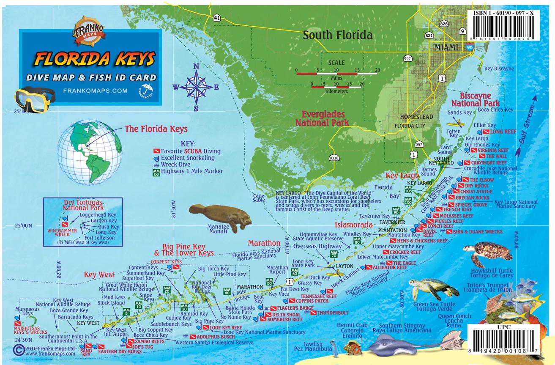 Franko Maps Florida Keys Reef Creatures Card - Florida Keys Dive Map