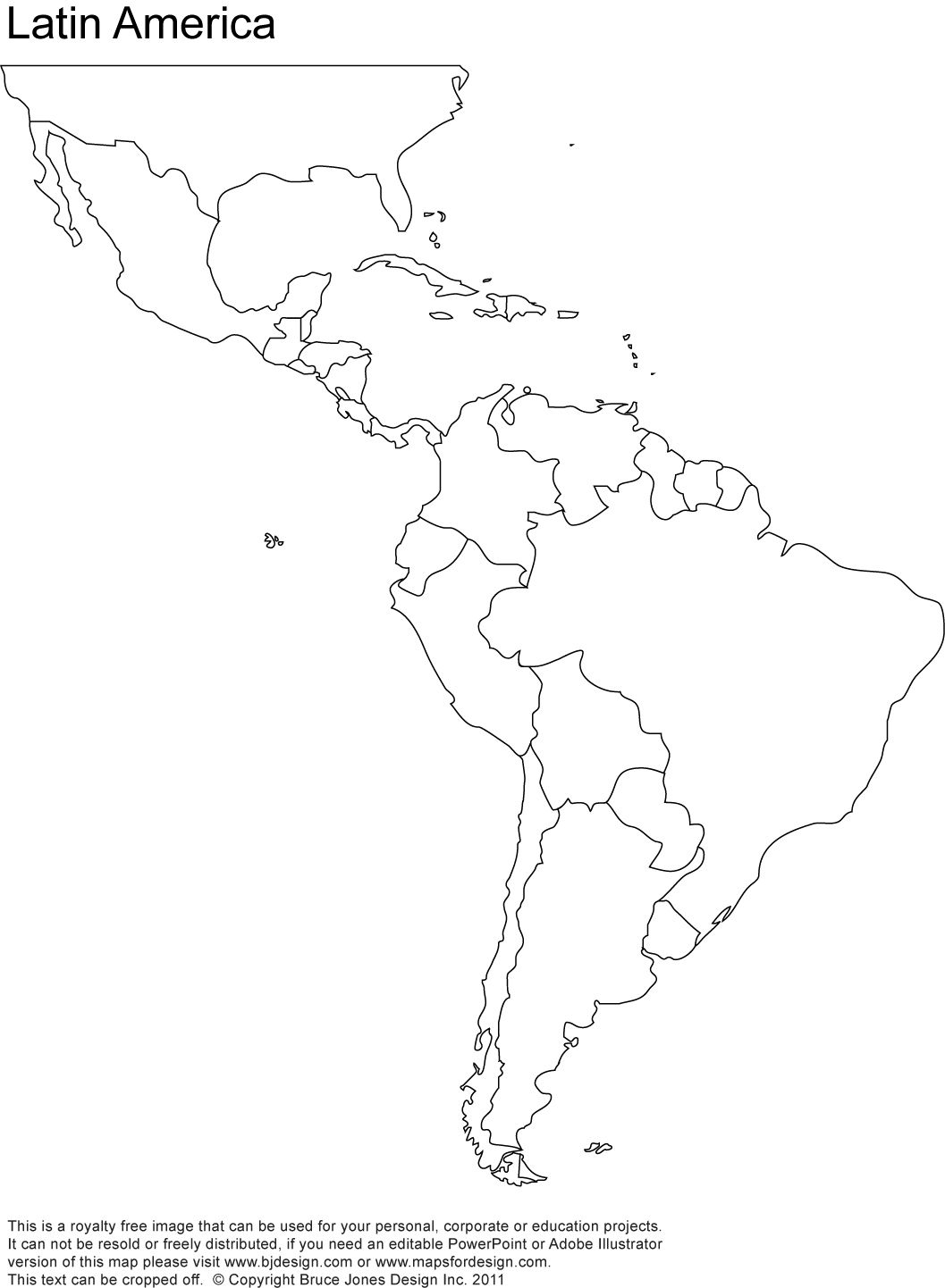Free Blank Map Of North And South America | Latin America Printable - Blank Map Of Latin America Printable