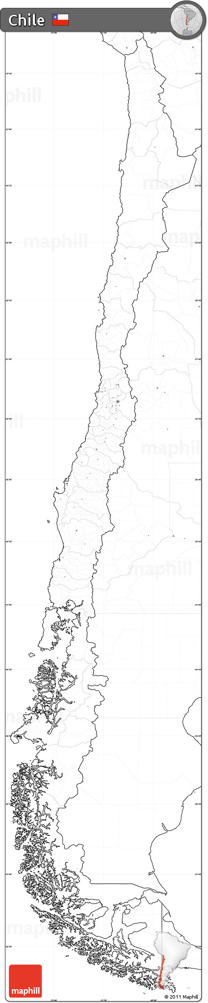 Free Blank Simple Map Of Chile, No Labels - Free Printable Map Of Chile