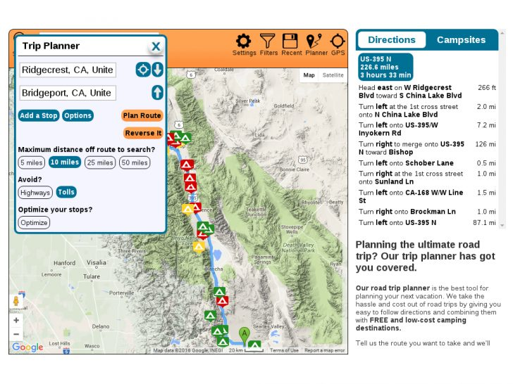 California Camping Sites Map