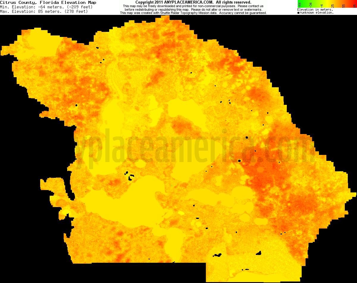 Free Citrus County, Florida Topo Maps & Elevations - Florida Elevation Map
