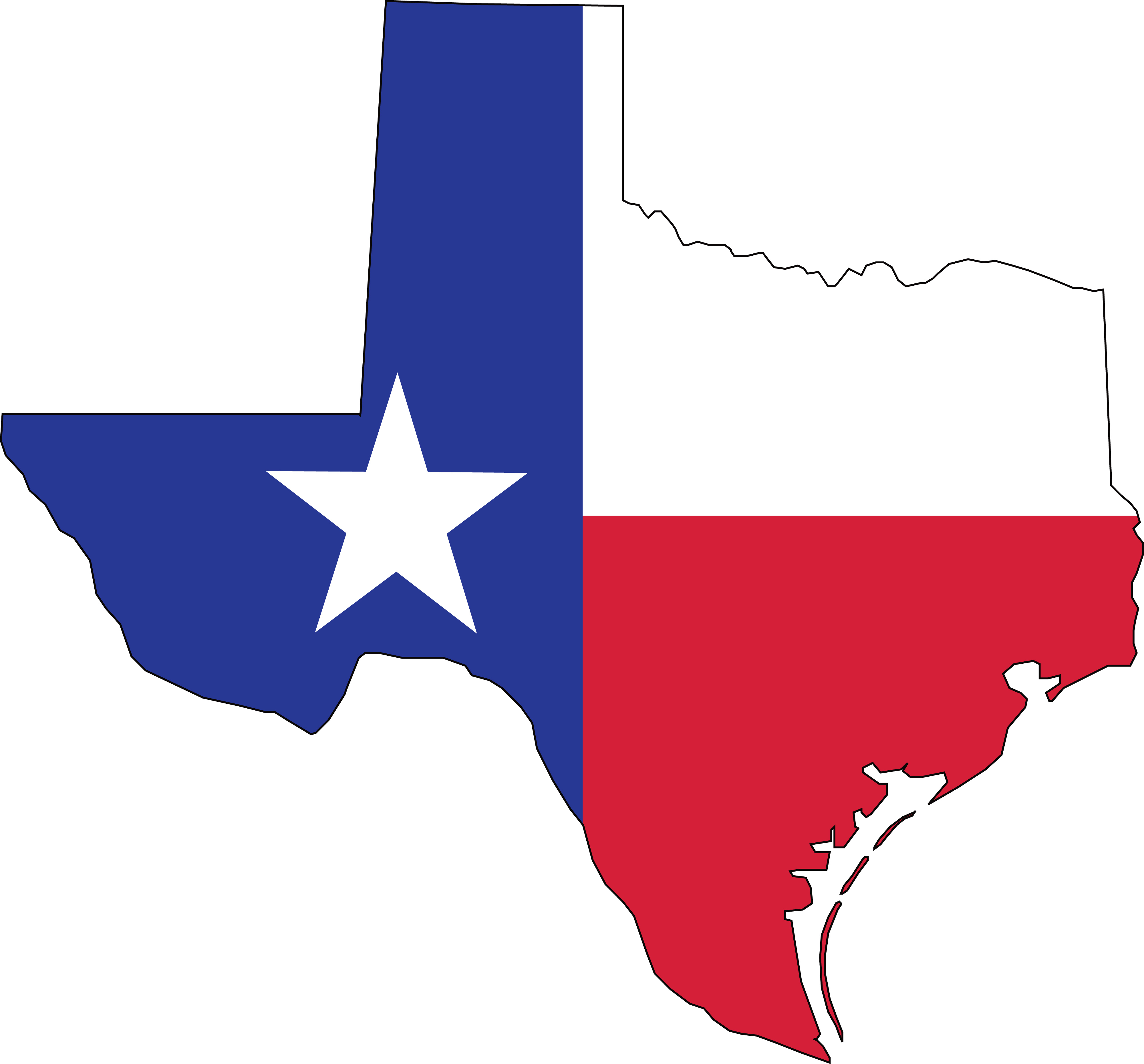 Free Clipart Of A Texas Flag Map - Texas Flag Map