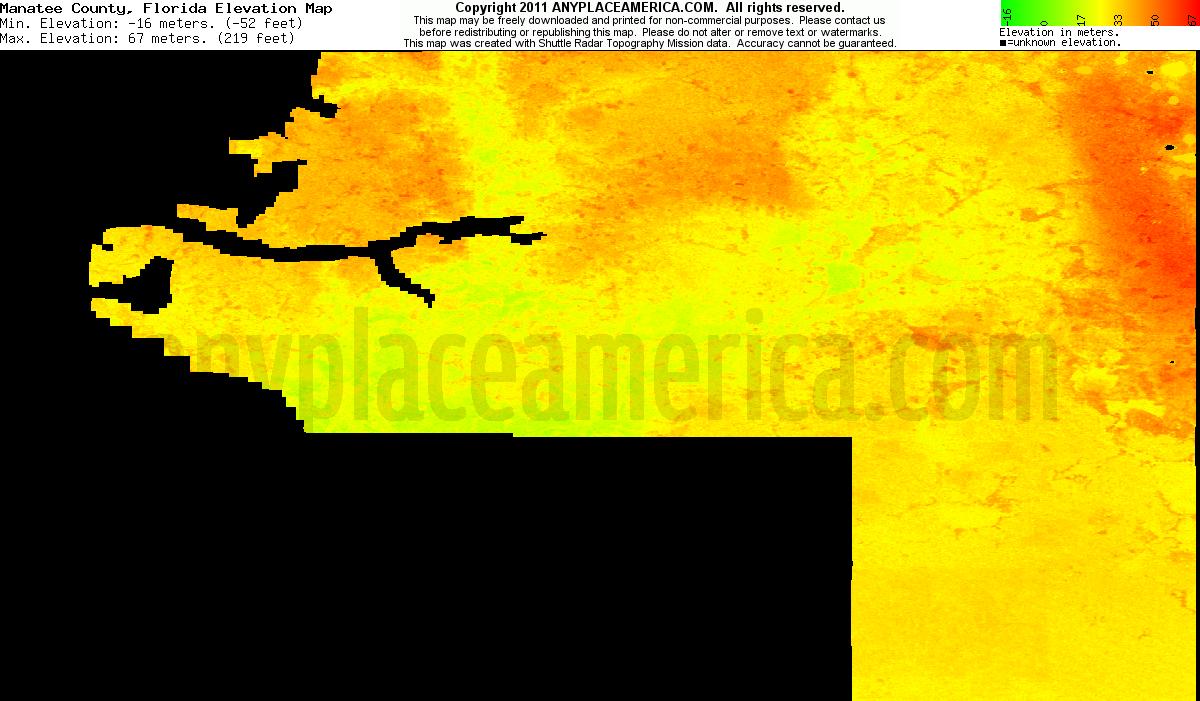 Free Manatee County, Florida Topo Maps & Elevations - Florida Elevation Map
