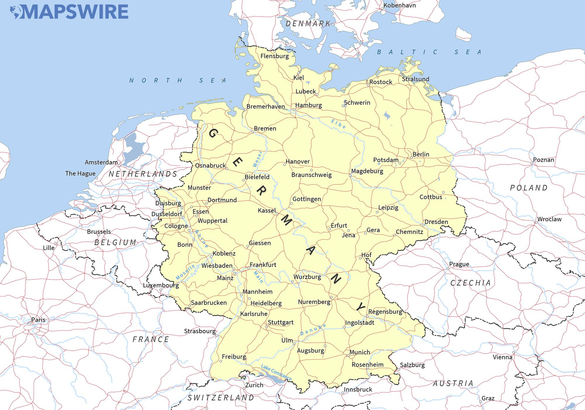 Free Maps Of Germany – Mapswire - Large Printable Map Of Germany