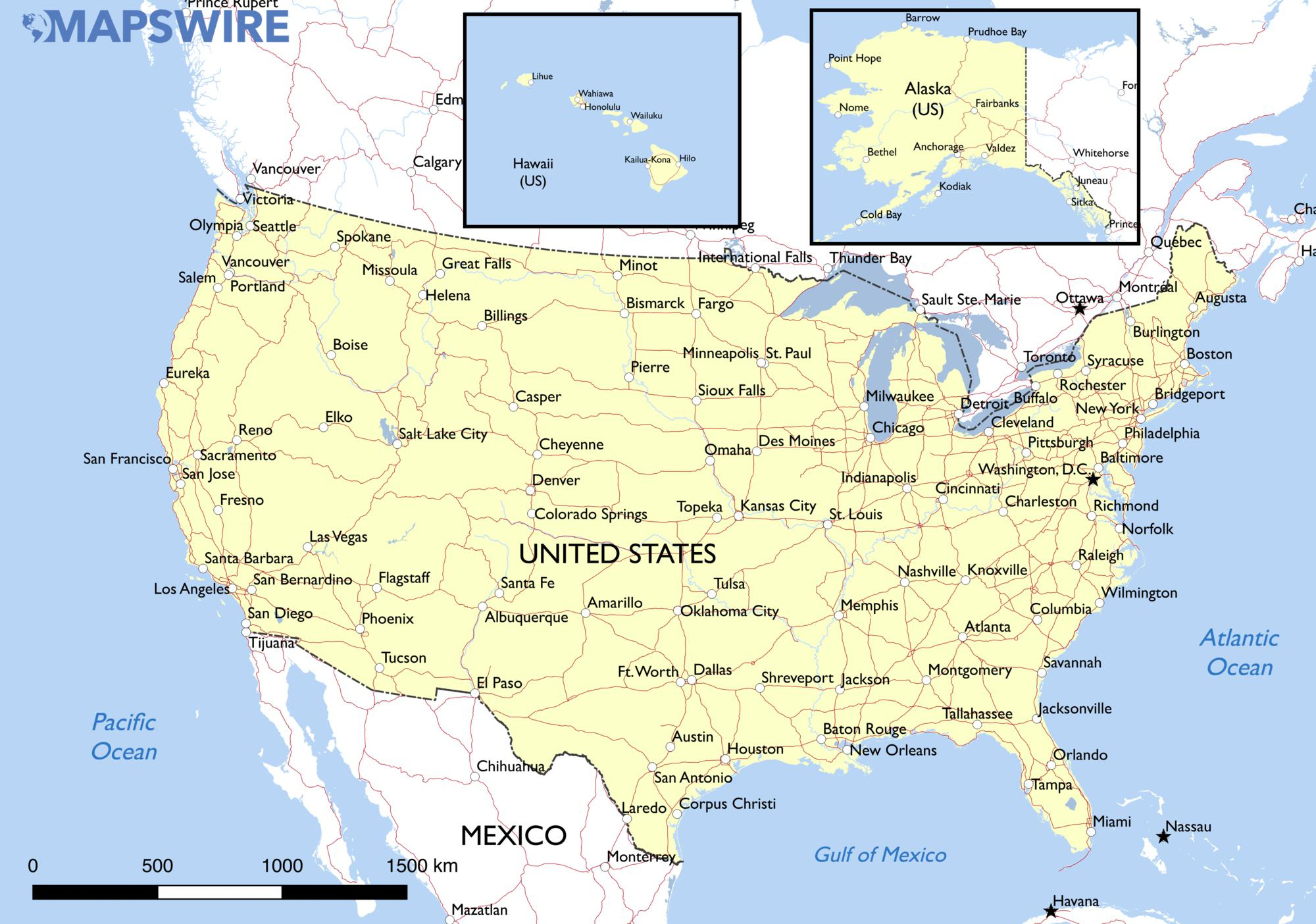 Free Maps Of The United States – Mapswire - Printable Map Of The Usa With States And Cities