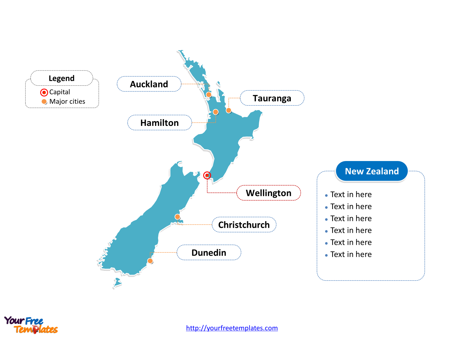 Free New Zealand Editable Map - Free Powerpoint Templates - Printable Map Of New Zealand