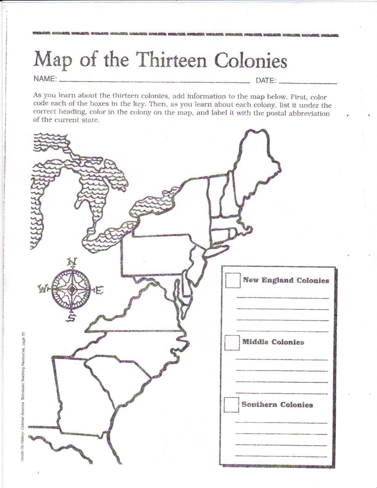 Free Printable 13 Colonies Map …   Activities   7Th G… - 13 Colonies Blank Map Printable