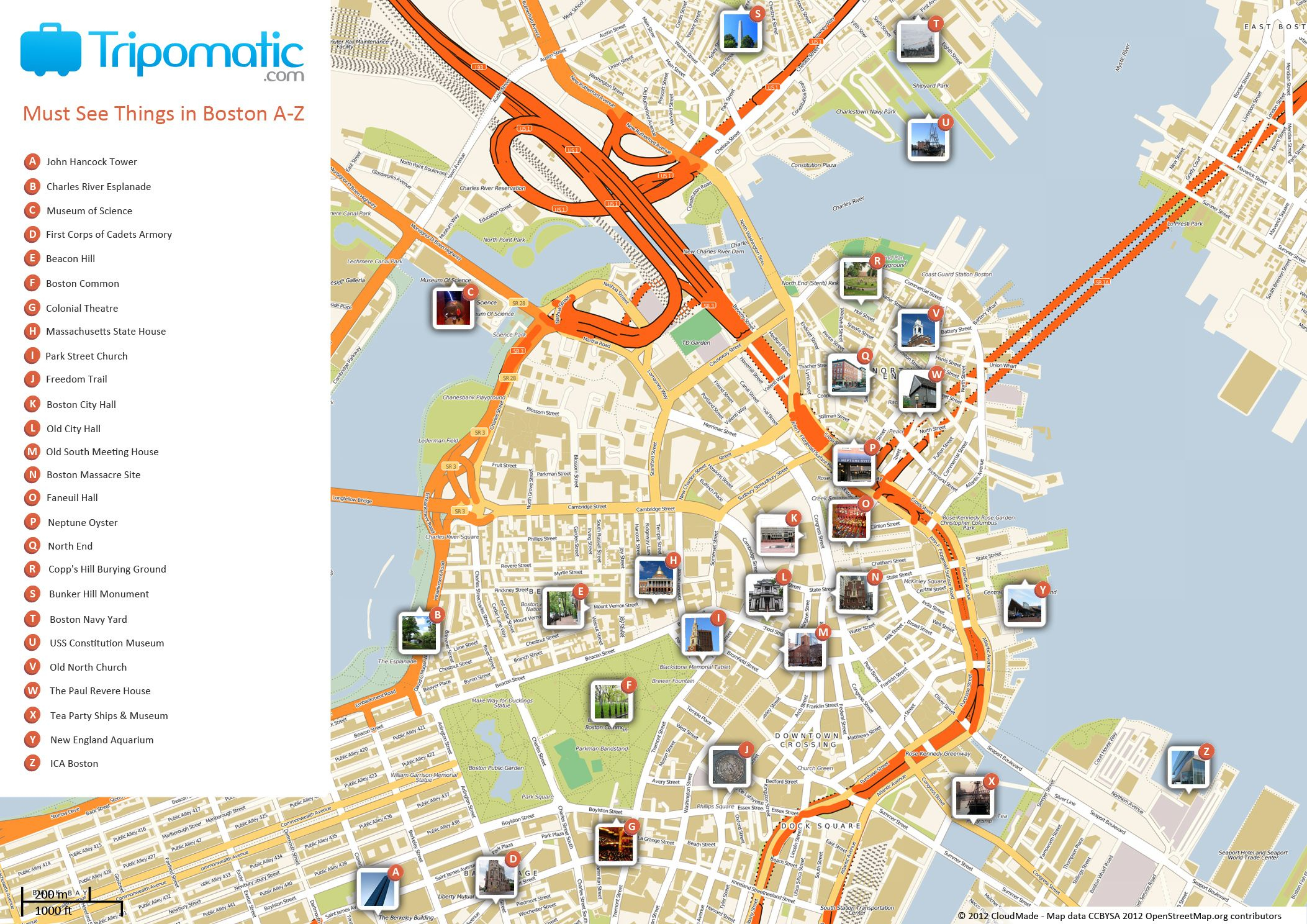 Free Printable Map Of Boston, Ma Attractions. | Free Tourist Maps - Printable Map Of Downtown Boston