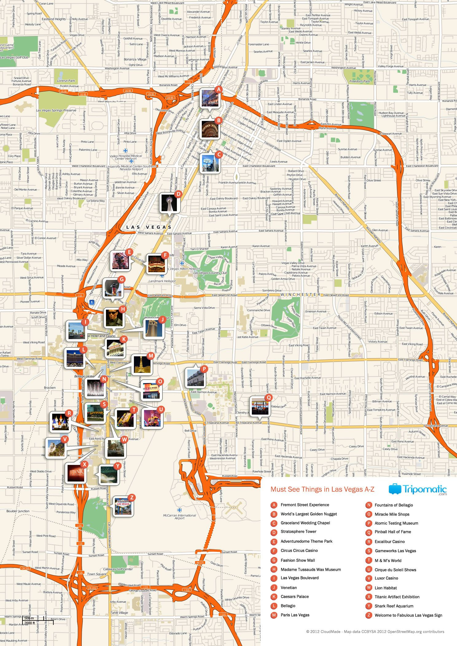 Free Printable Map Of Las Vegas Attractions. | Free Tourist Maps - Printable Las Vegas Street Maps