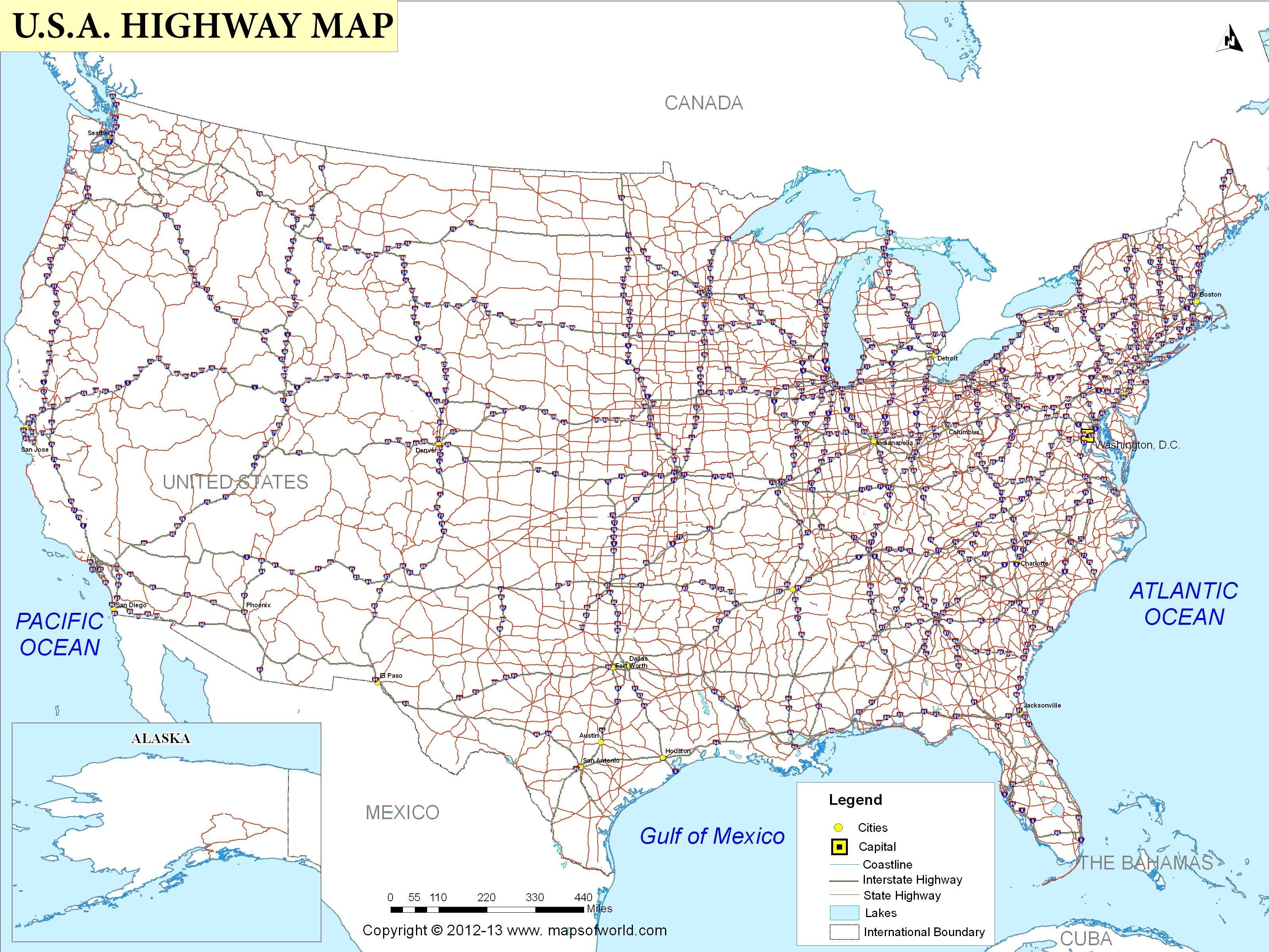 Free Printable Us Highway Map Usa Road Map Luxury United States Road - Free Printable Road Maps Of The United States