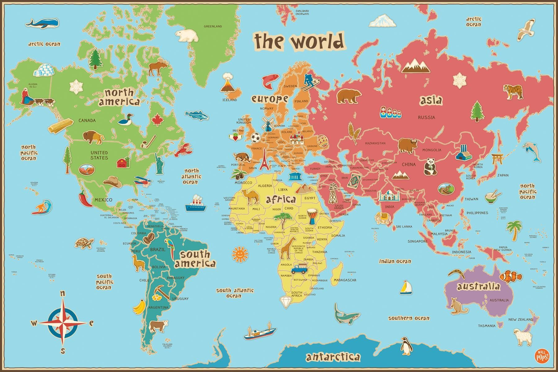 Free Printable World Map For Kids Maps And | Gary's Scattered Mind - Children's Map Of The World Printable
