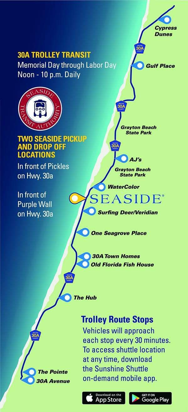 Free Scenic 30A Trolley Summer Schedule & Map | Sowal | Florida - Seaside Florida Town Map