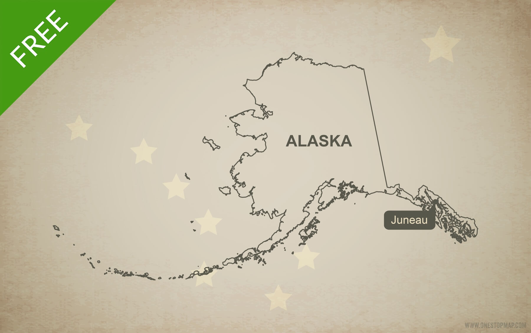 Free Vector Map Of Alaska Outline   One Stop Map - Free Printable Map Of Alaska