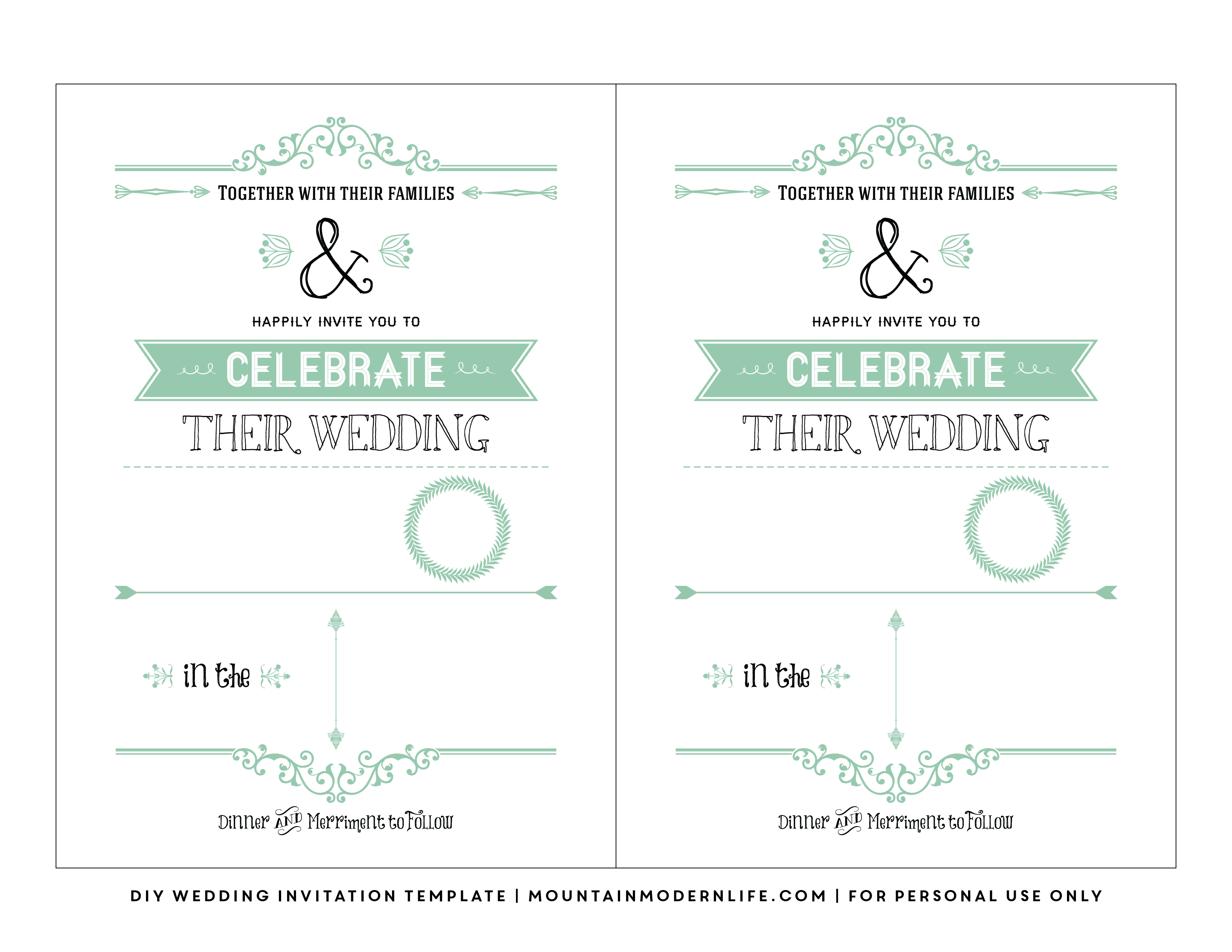 Free Wedding Invitation Template | Mountainmodernlife - Printable Maps For Wedding Invitations Free