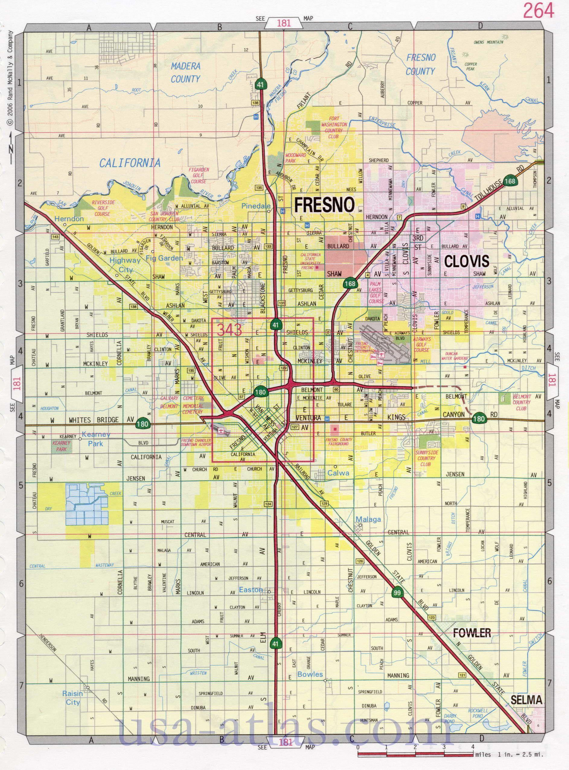 Fresno Street Map. Large-Scale Detailed Streets Map Fresno Sity - Fresno California Map