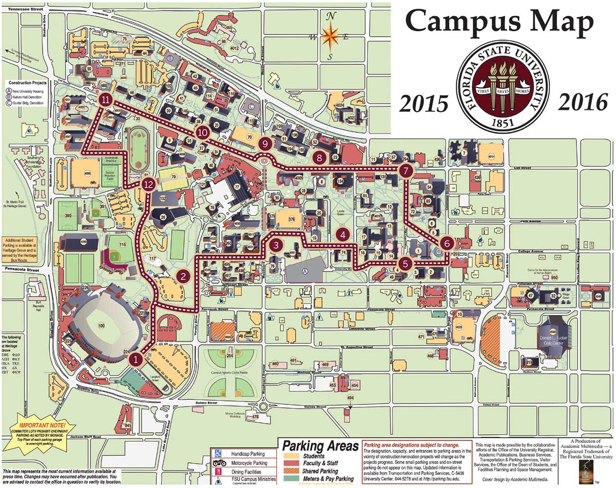 Fsu Campus Mapsite Imagefsu Campus Map - Reference Of Map With States - Florida State University Map