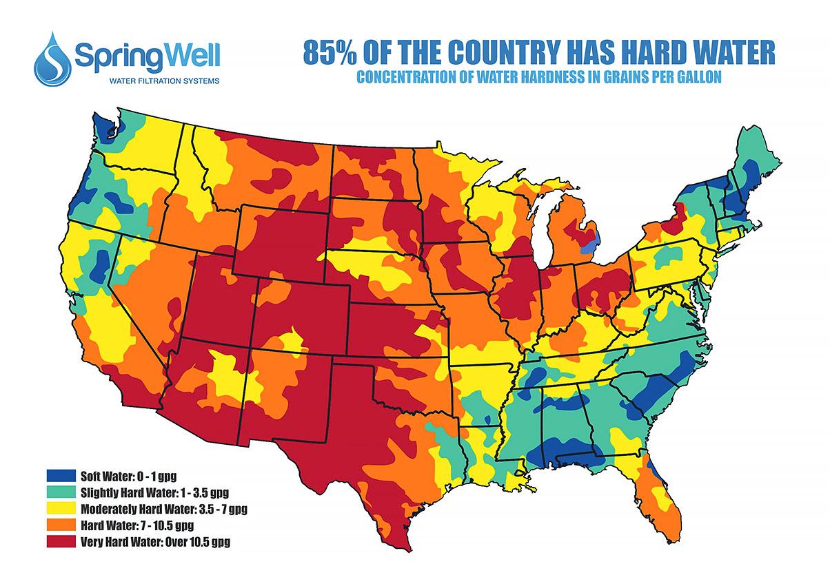 Futuresoft® Salt-Free Water Softener - Springwell Water Filtration - Florida Water Hardness Map