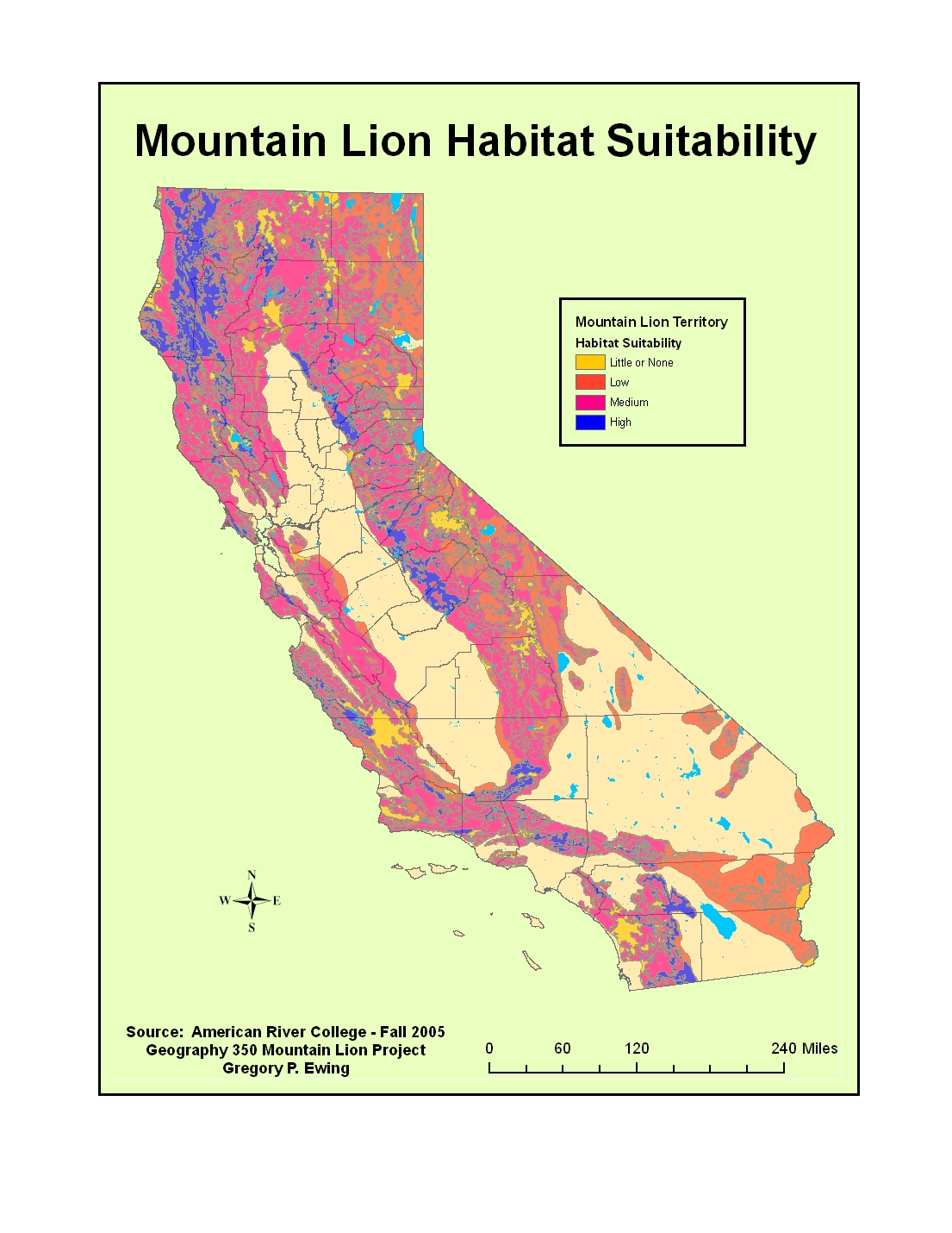 G350_Ewing_Project - Mountain Lions In California Map
