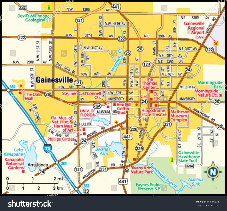Gainesville Florida Area Map Stock Vector (Royalty Free) 144494338 - Map Of Gainesville Florida Area