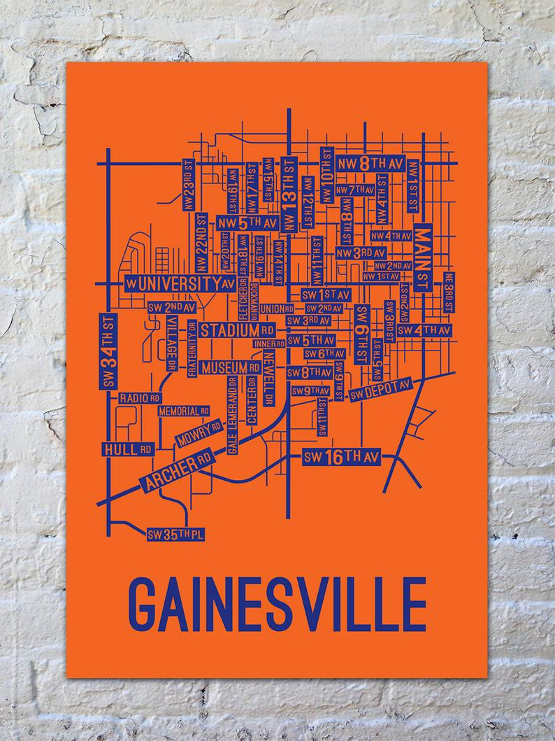 Gainesville Florida Street Map Screen Print College Town | Etsy - Map Of Gainesville Florida And Surrounding Cities