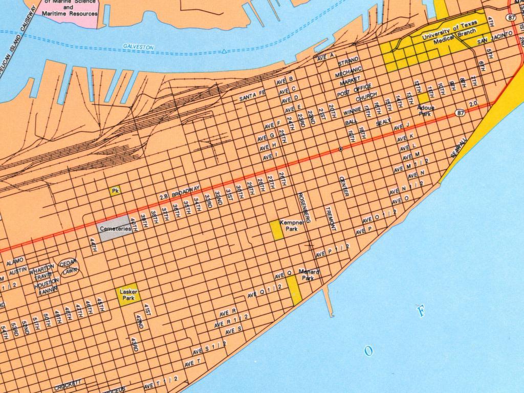Galveston City Map - Galveston Texas • Mappery - Map Of Galveston Texas