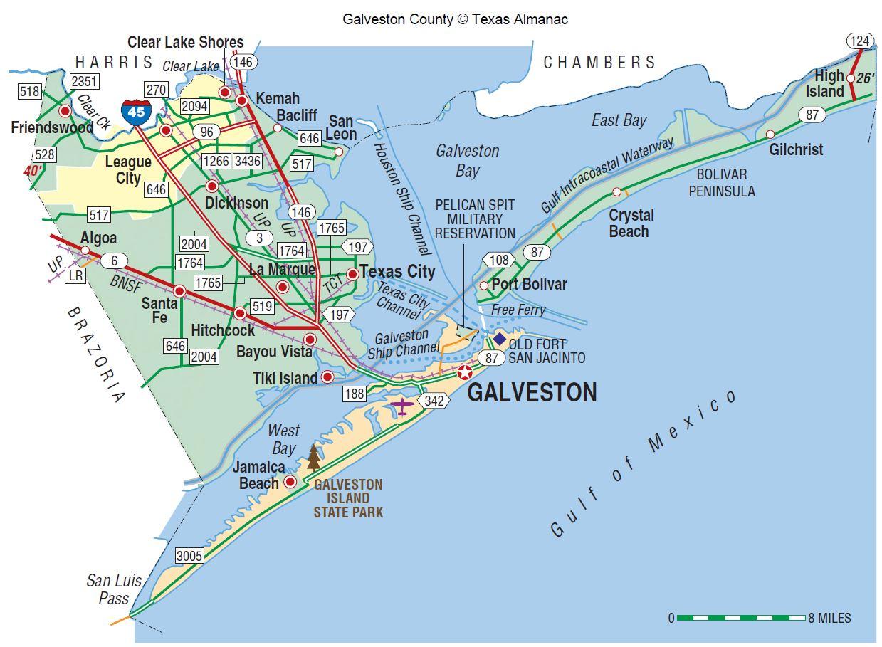 Galveston County | The Handbook Of Texas Online| Texas State - Texas Gulf Coast Shipwrecks Map