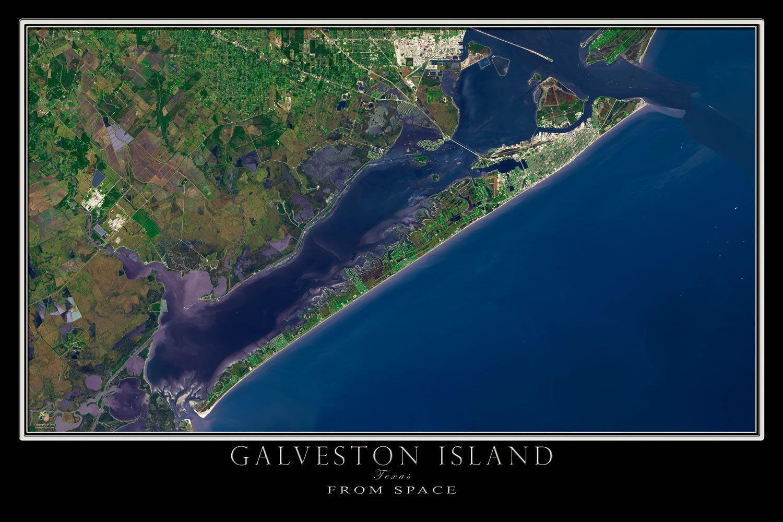 Galveston Island Texas Satellite Poster Map | Texas: The Lone Star - Map Of Galveston Texas