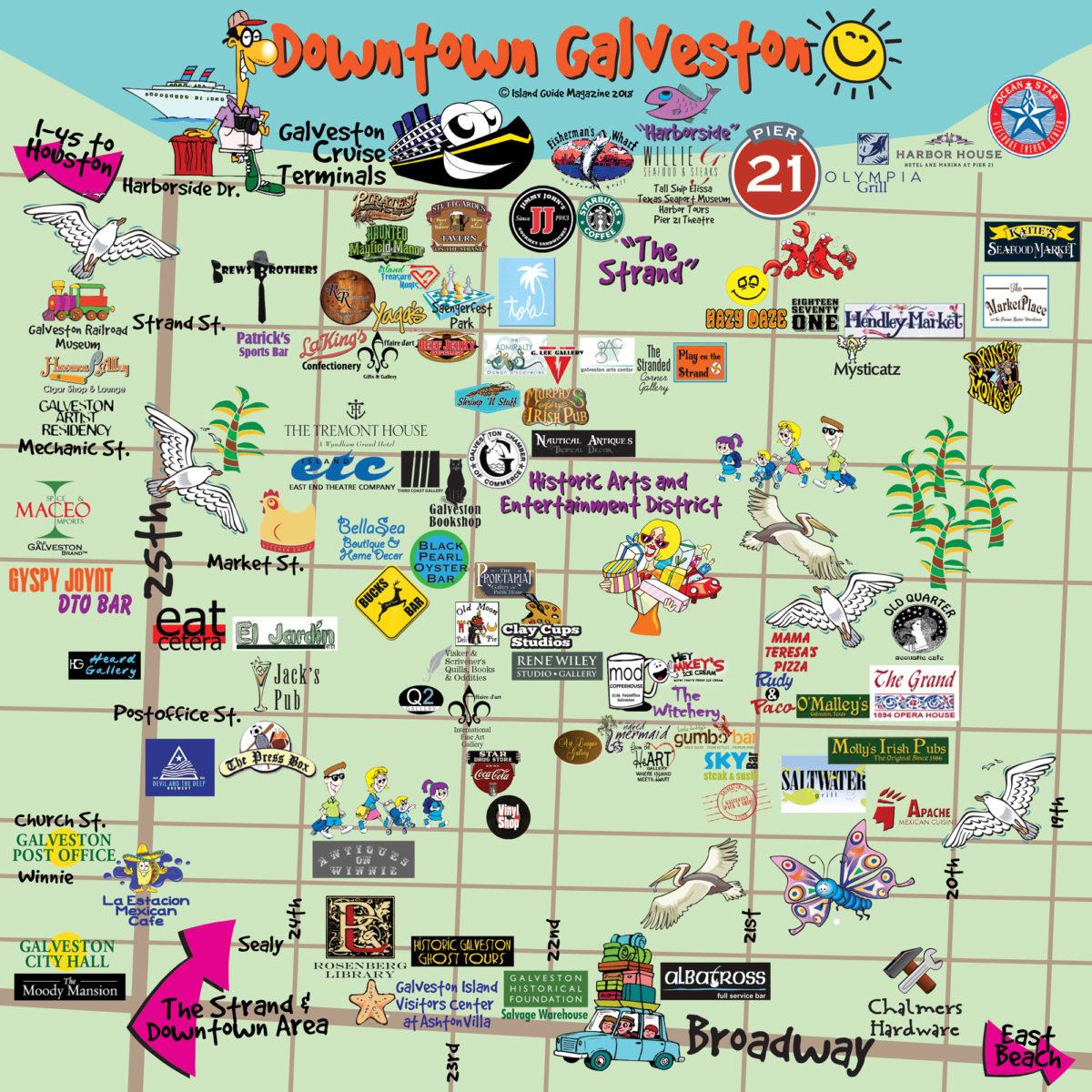 Galveston, Tx - Galveston Fun Maps - Galveston Island Guide - Map Of Galveston Texas