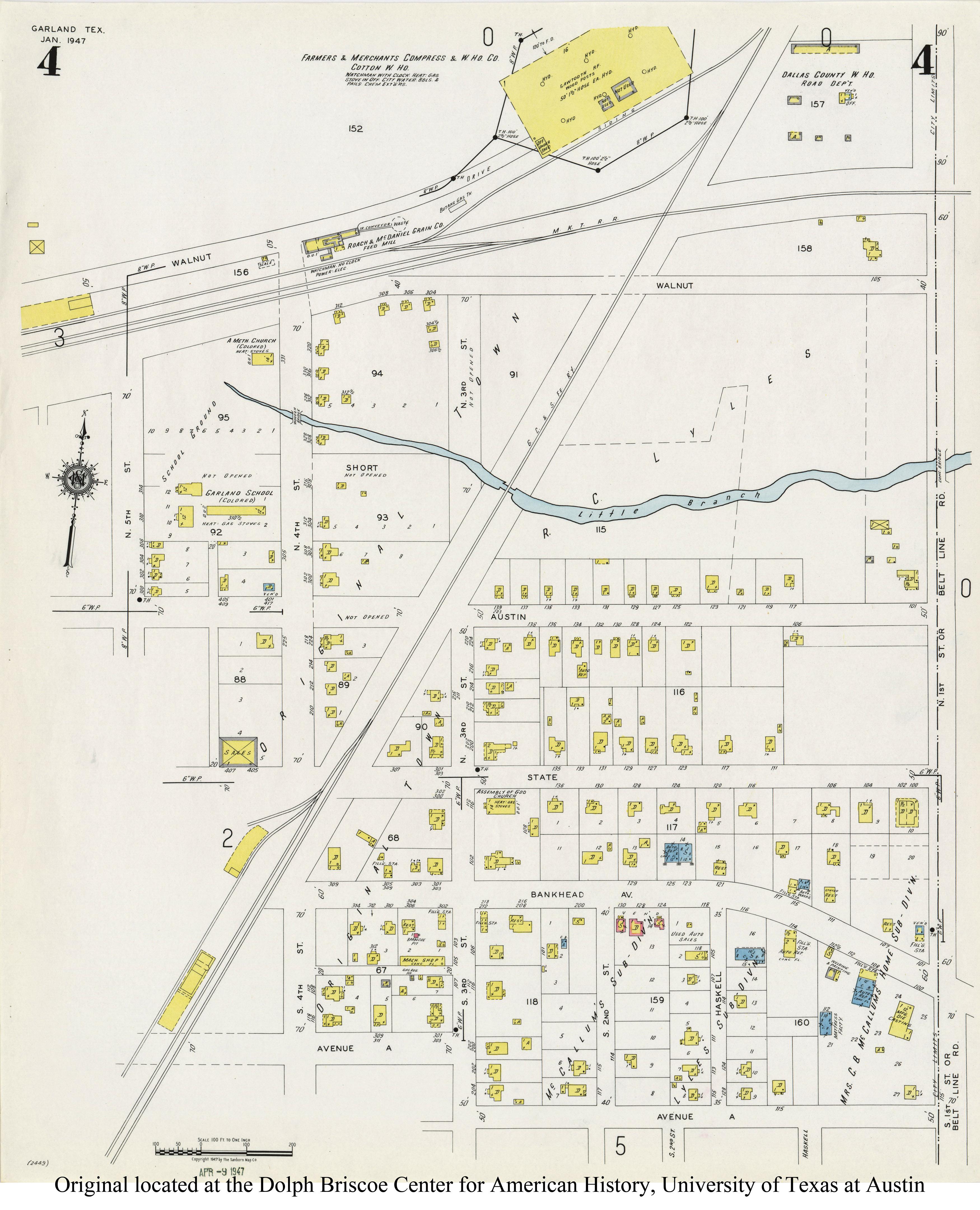 Garland Landmark Society - Sanborn-Perris Map Of Garland, Texas - Garland Texas Map