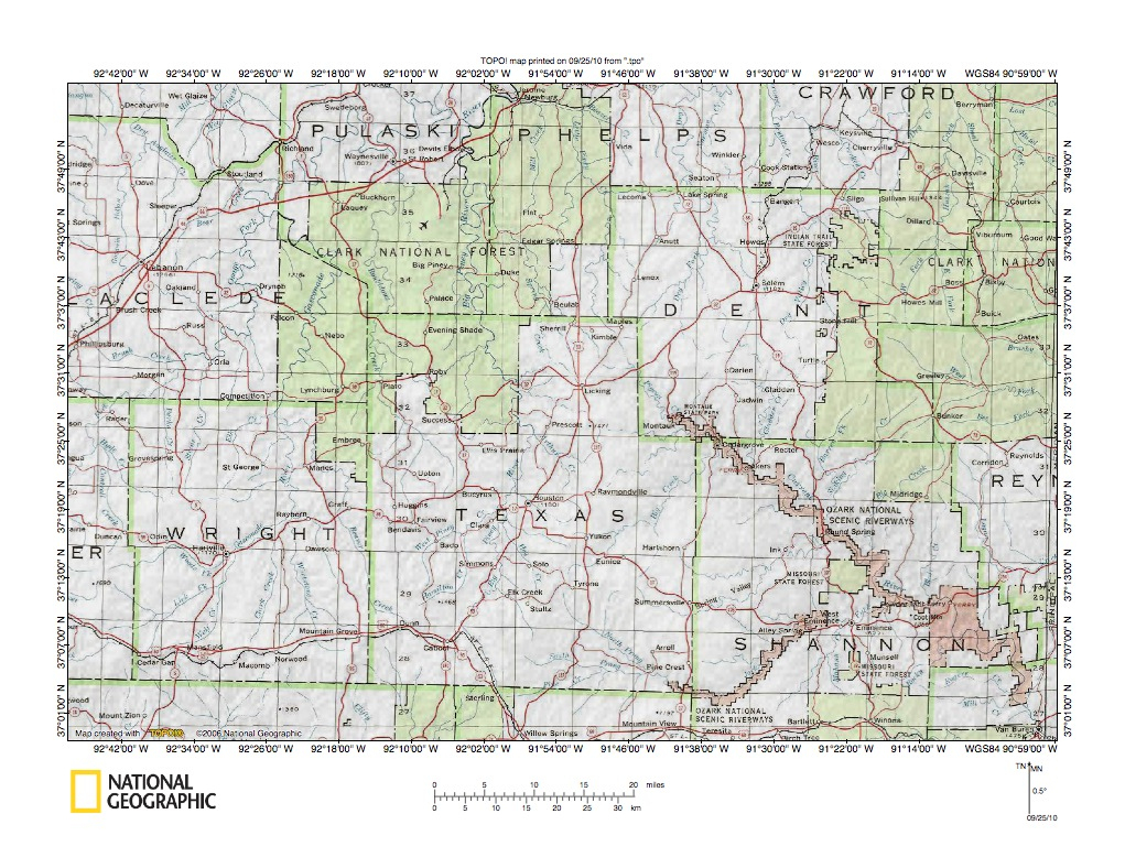Gasconade River-White River Drainage Divide Area Landform Origins In - Texas County Missouri Plat Map