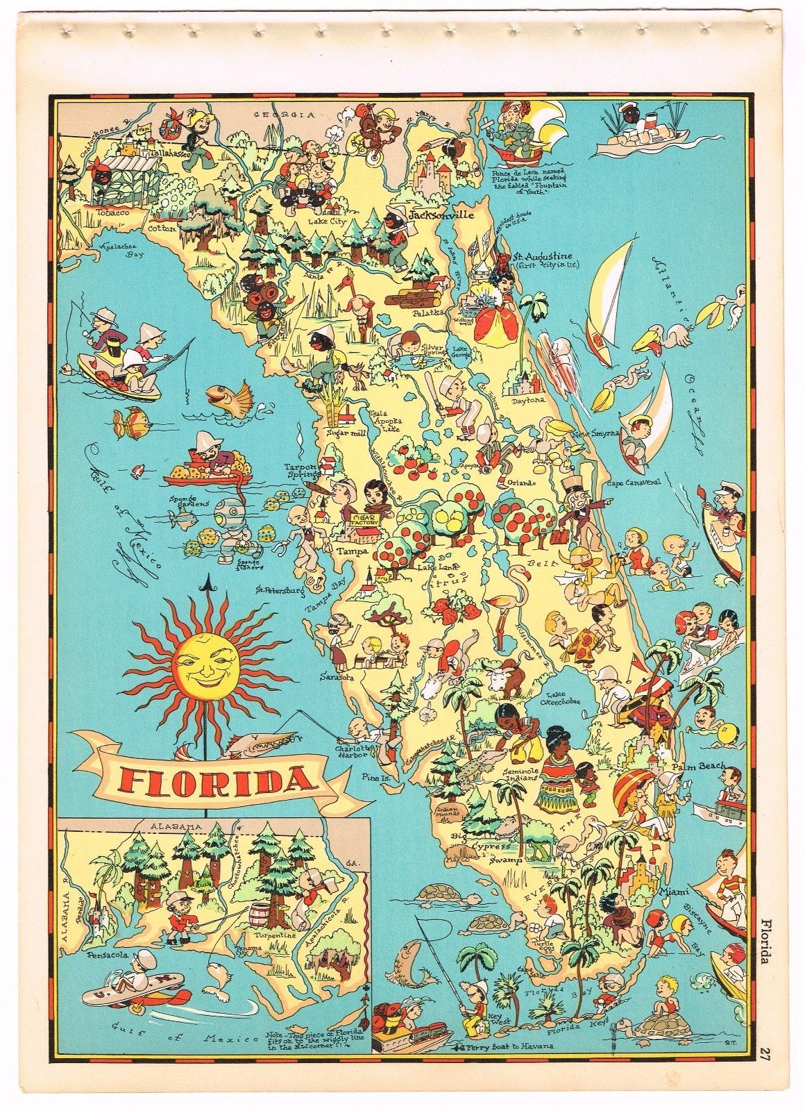 Genuine Ruth Taylor Vintage Florida Map Cartoon Rare Pictorial 1935 - Vintage Florida Map Poster