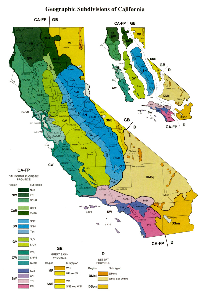 Geographic Subdivisions In California Map Map California Map Of - California Desert Map