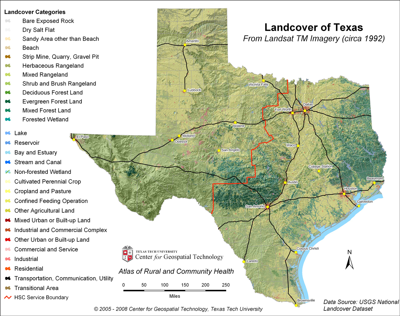 Geographical Maps Of Texaswebsite Picture Gallerylandcover Of Texas - Texas Land Map