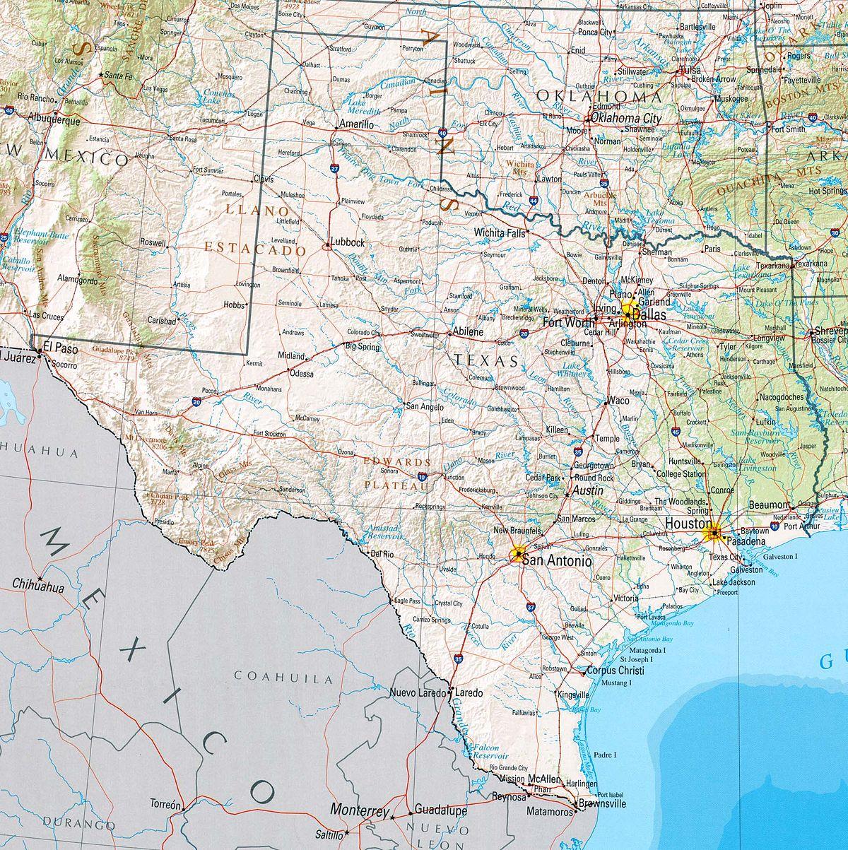 Géographie Du Texas — Wikipédia - Houston Texas Google Maps