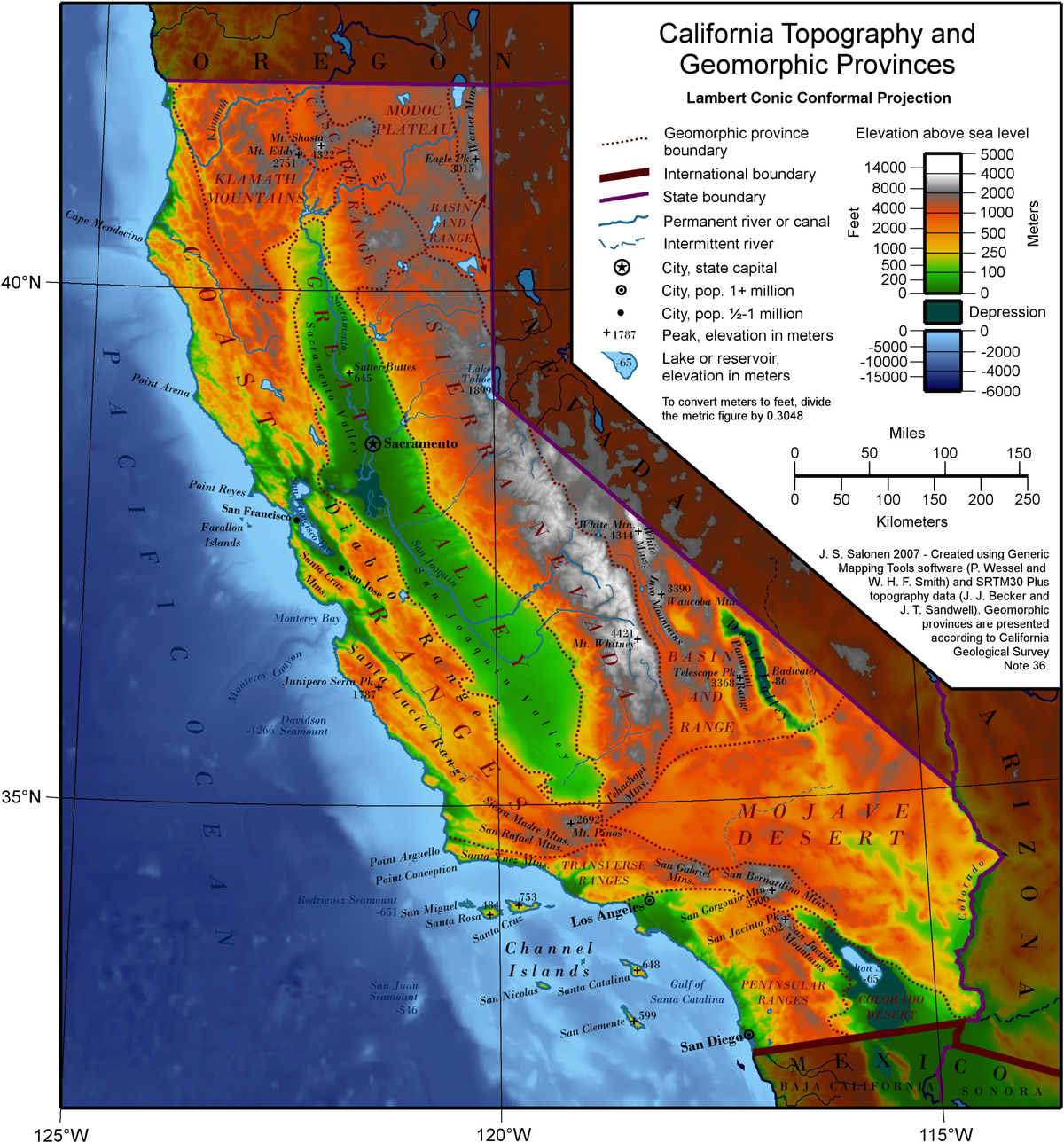 Geography Of California Google Maps California Southern California - California Elevation Map