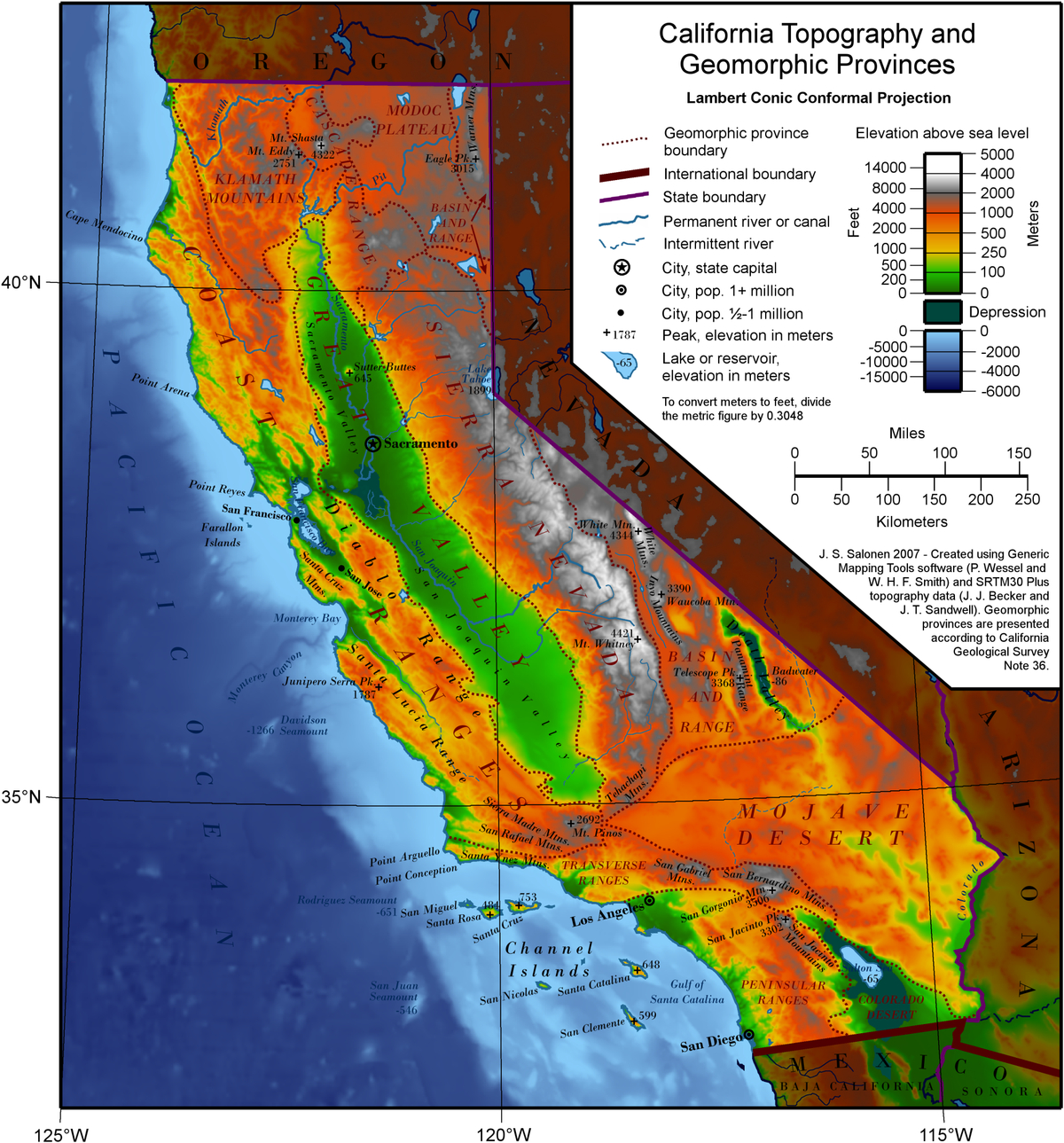 Geography Of California - Wikipedia - California Landforms Map
