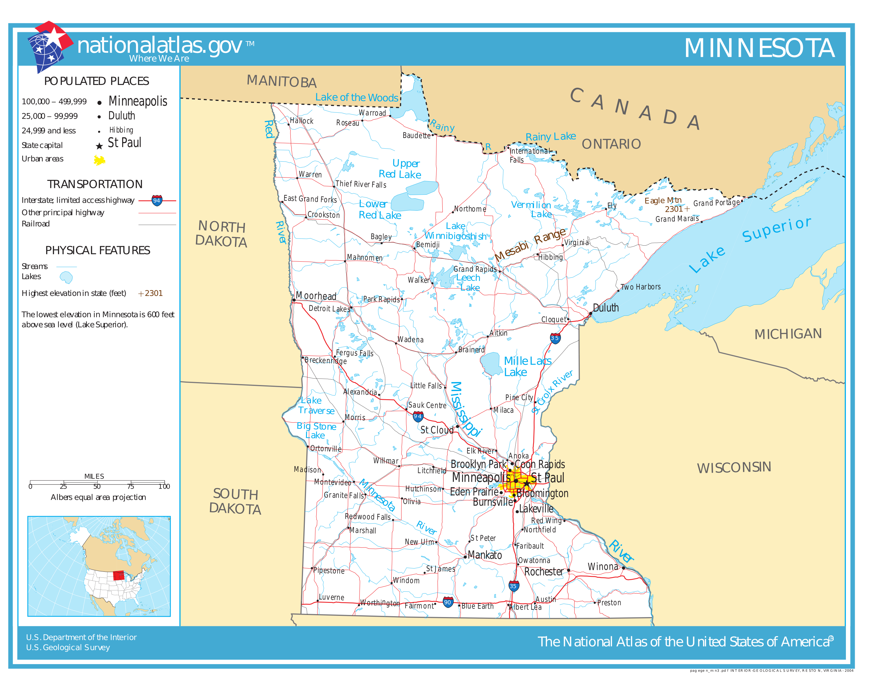 Geography Of Minnesota - Wikipedia - Printable Lake Minnetonka Map