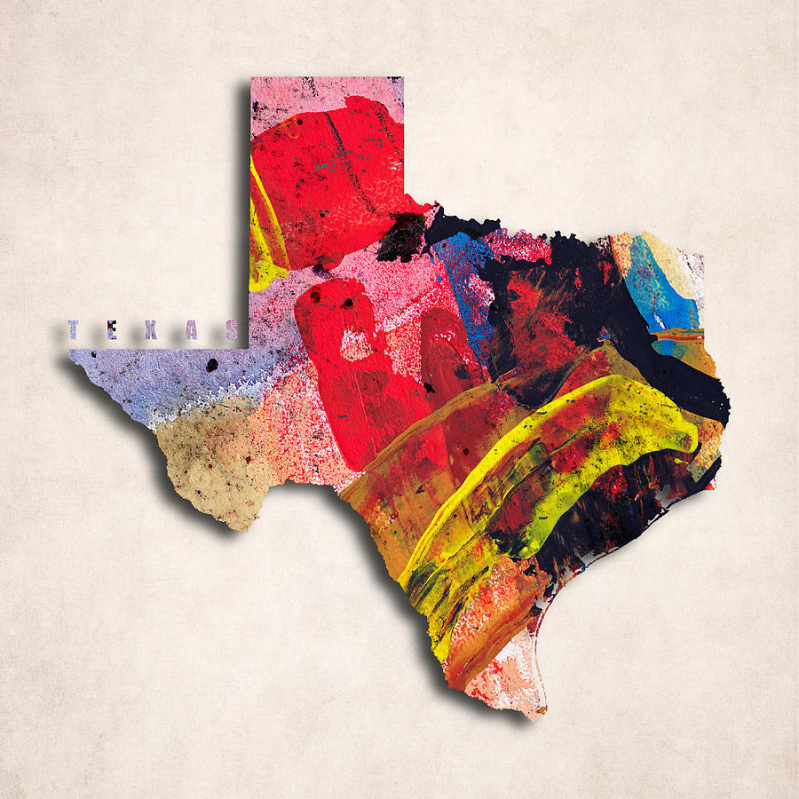 Geography Of Texas Art | Fine Art America - Texas Map Artwork