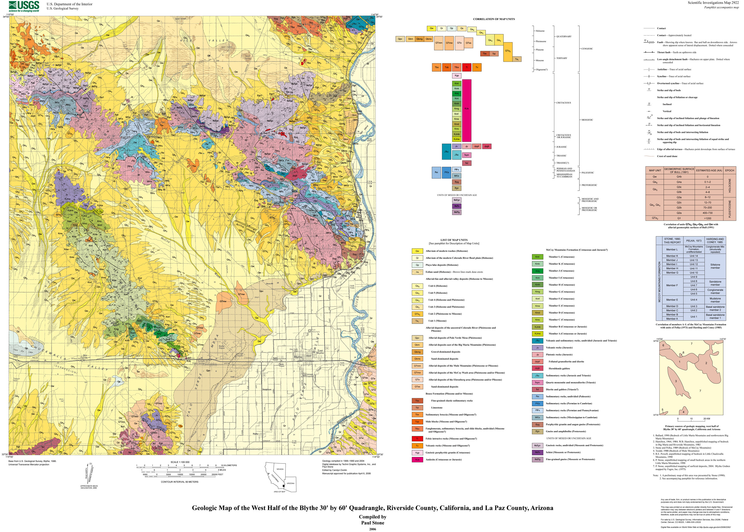Geologic Map Of The West Half Of The Blythe 30'60' Quadrangle - California Geological Survey Maps