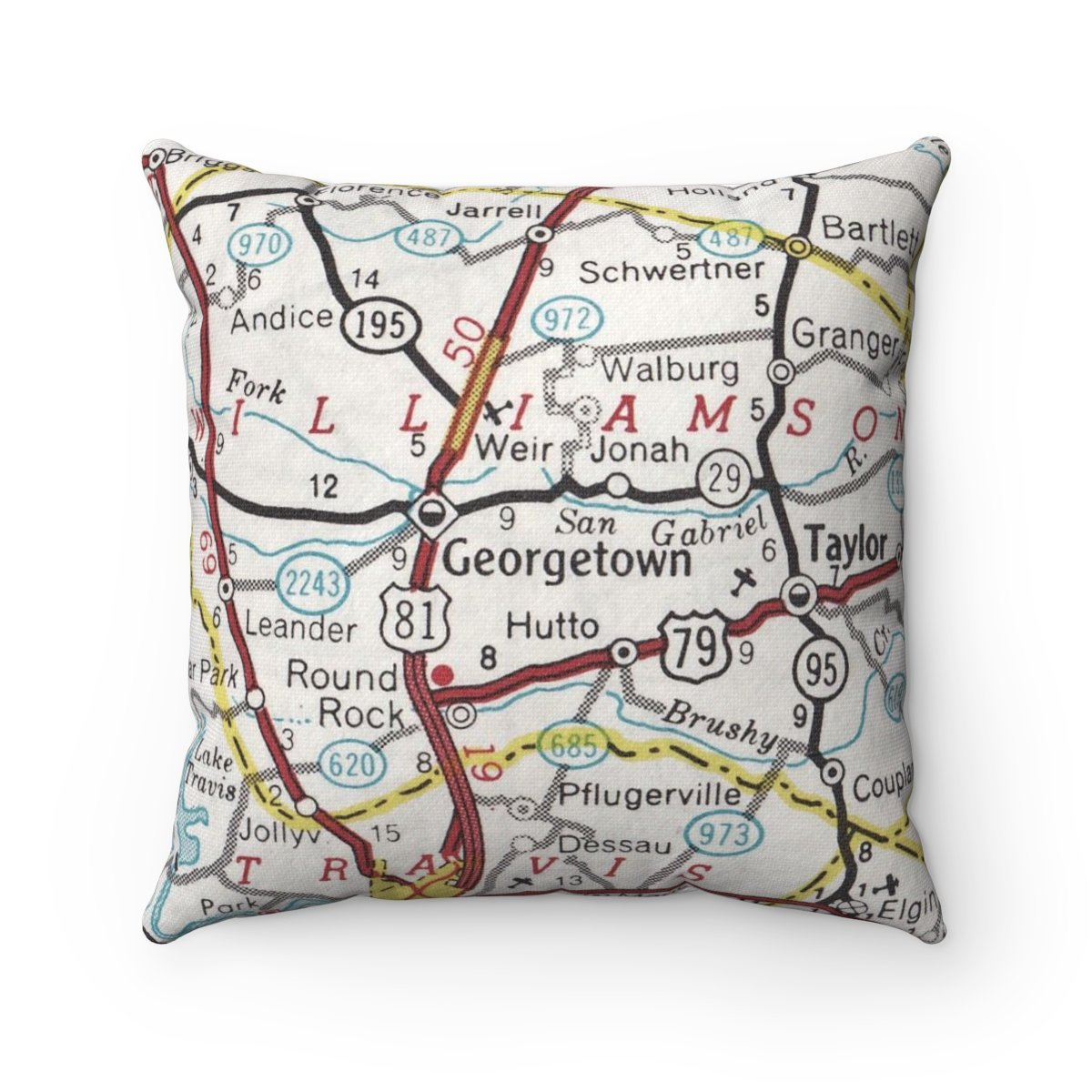Georgetown Texas Vintage Map Pillow Georgetown Pillow   Etsy - Texas Map Pillow