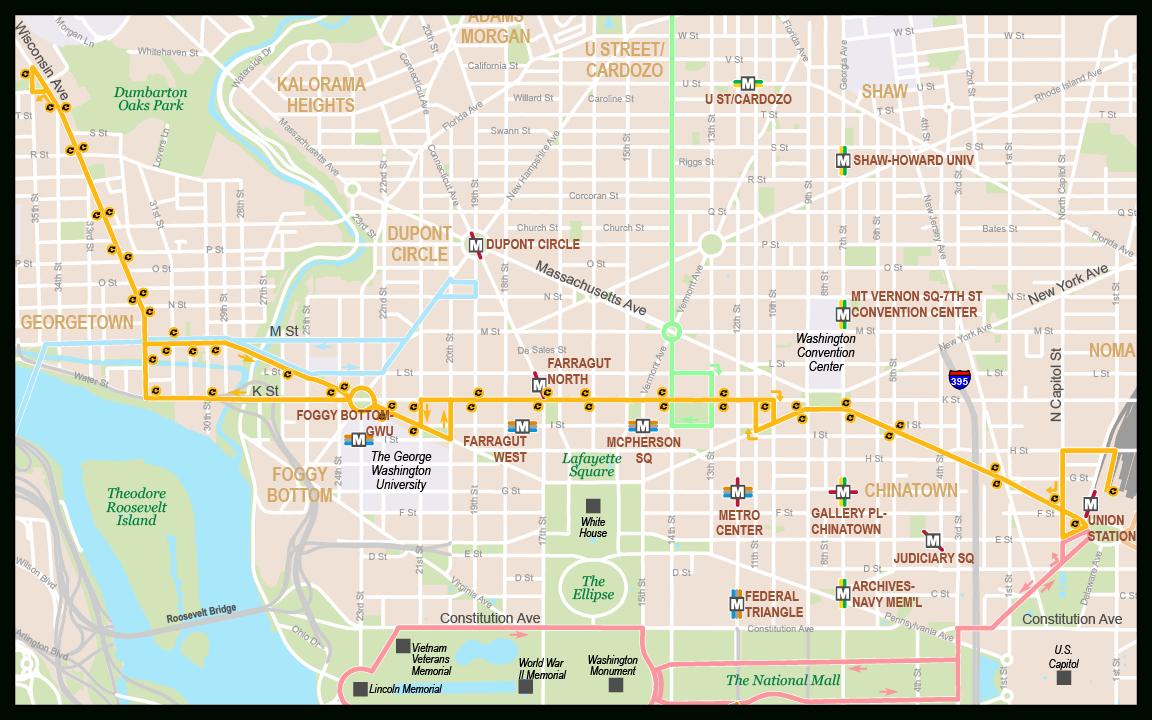 Georgetown-Union Station - Washington D.c. Circulator - Printable Street Map Of Washington Dc