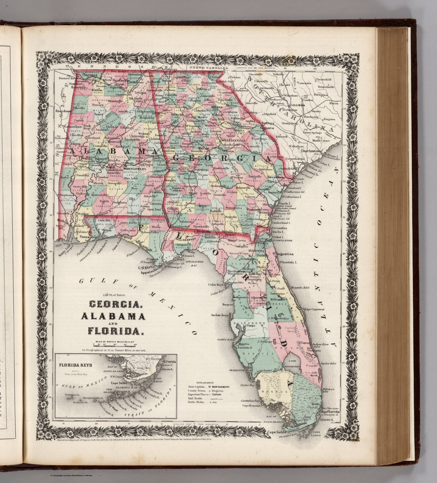 Georgia, Alabama, And Florida. - David Rumsey Historical Map Collection - Map Of Alabama And Florida