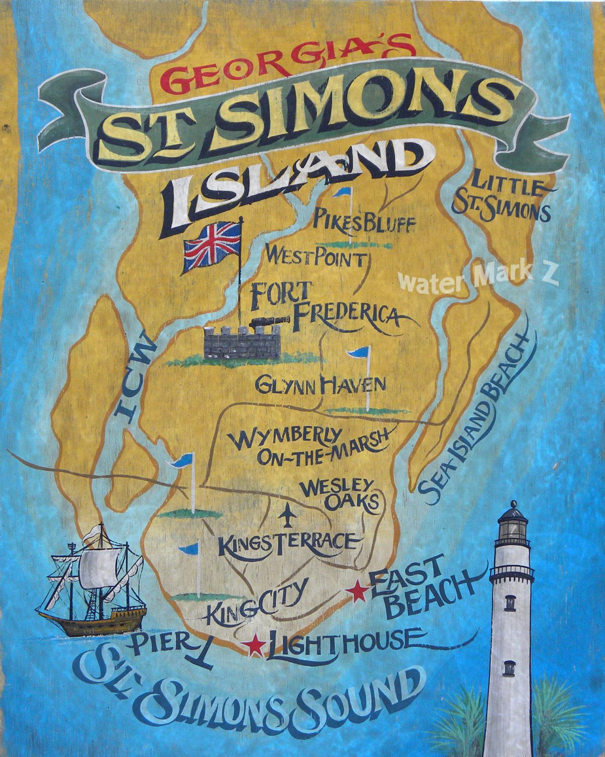 Georgia On My Mindst. Simon's Island Map Print, Golden Isle, Map - Printable Map Of St Simons Island Ga
