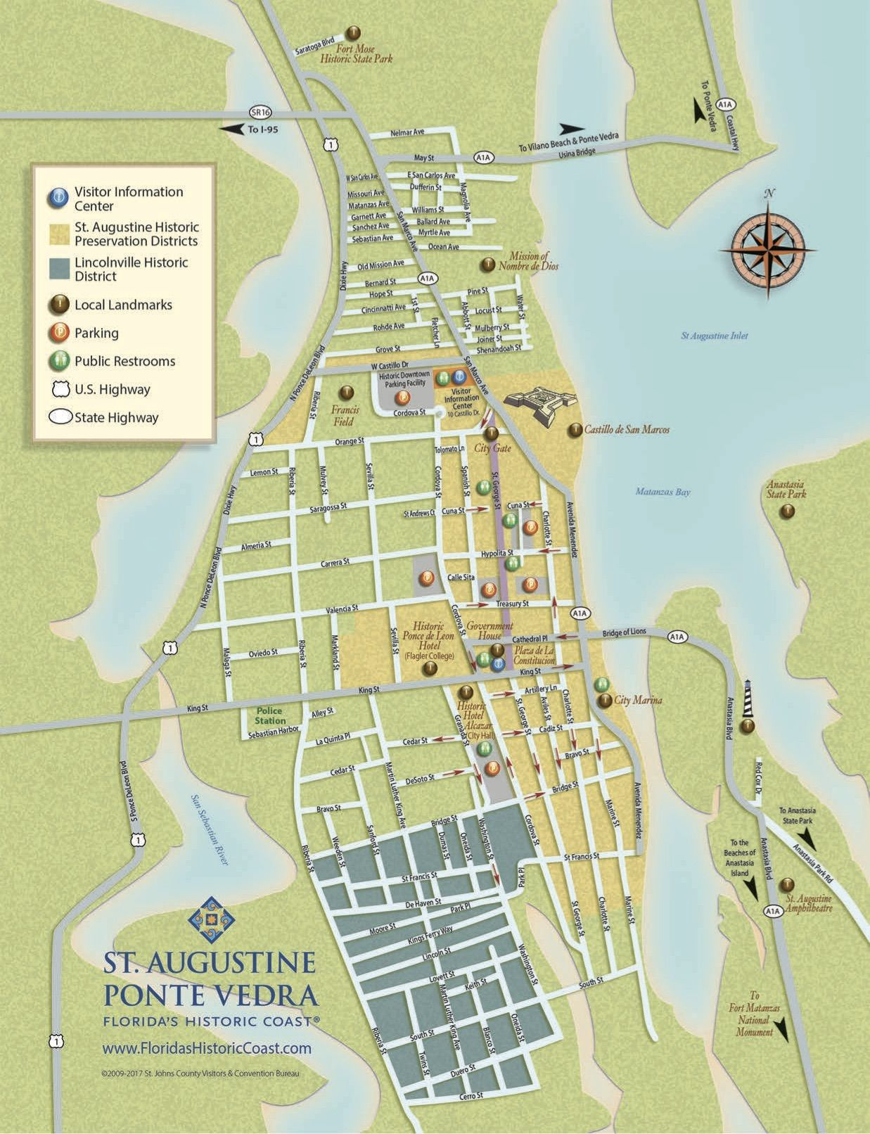Get To Know Downtown St. Augustine With Our Printable Maps! | Road - Map Of Hotels In St Augustine Florida